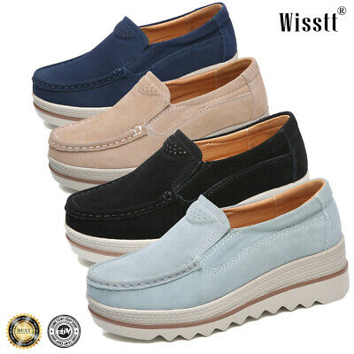 ecf7cf19b838 Womens Breathable Suede Round Toe Slip On Platform Shoes Wedge Creepers  Fashion