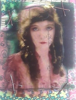 Aceo Original Collage, Beautiful Woman, Signed By Artist Greer Gschwind