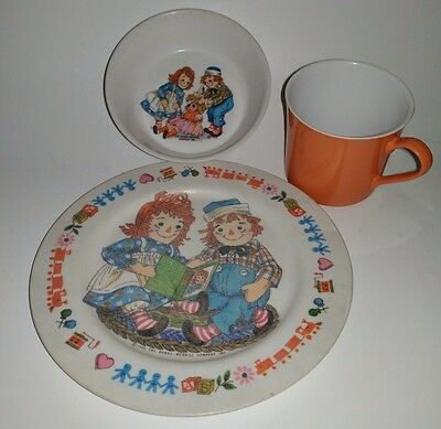 Raggedy Ann and Andy Plate Cup Bowl Set 3 piece Vintage Oneida Deluxe 1969 G7