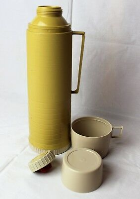 Tall Vintage Plastic Quart Size Thermos with Handle