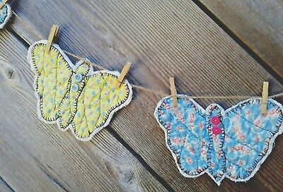 Primitive VTG Quilt Garland bunting butterfly handmade FARMHOUSE shabby country