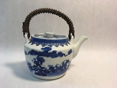 Antique Hand-Painted Japanese Blue Ceramic Tea Pot w Lid and Wicker Handle