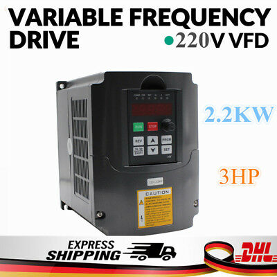 Updated 2.2KW 220V 3HP 10A VFD Variable Frequency Drive Speed Control HY02D223B