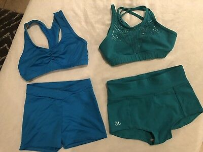 Jo Jax And Motionwear Dancewear Top & Bottom Pair Pre-owned Blue & Green CL