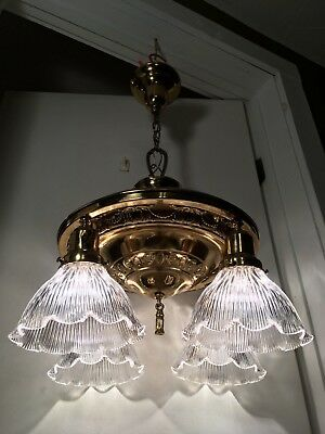 Antique c1910 Brass Pan Chandelier 4 Light Ceiling Fixture Holophane Shades Vtg