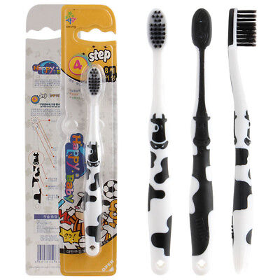 Kids Baby Toddler Cute Cow Bamboo Charcoal Soft Toothbrush Oral Dental Care 9H