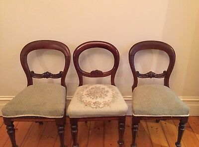 Antique Victorian Balloon Back Dining Chairs (Set of 6)