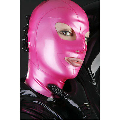 Unisex Rubber Mask 0.4mm For Cosplay Party Wear Sexy Latex Hood Metallic Pink