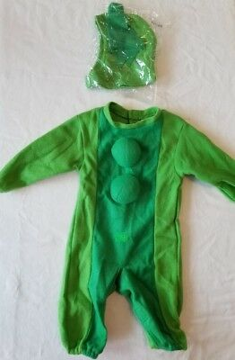 Green Pea In Pod Halloween Costume Infant Sz 6-12 Months Jumpsuit Missing 1 Pea