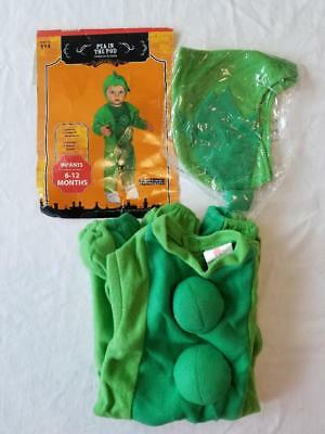 Green Pea In The Pod Halloween Costume Baby Infant Size 6-12 Months Jumpsuit Hat