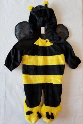 Fuzzy Yellow Black Bumble Bee Infant Halloween Costume Hood Size 6-12 Months