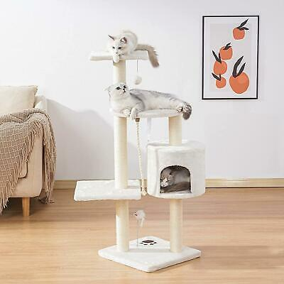 "44"" Scratching Cat Tree Multi Level Activity Center Kitty Condo Furniture"