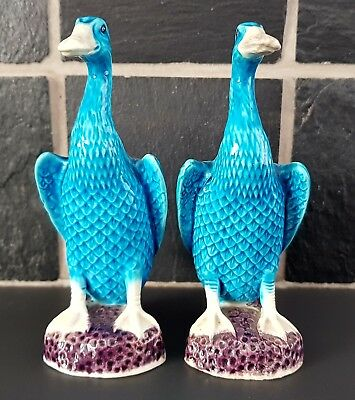Chine . Paire de canards en porcelaine chinoise bleue ....