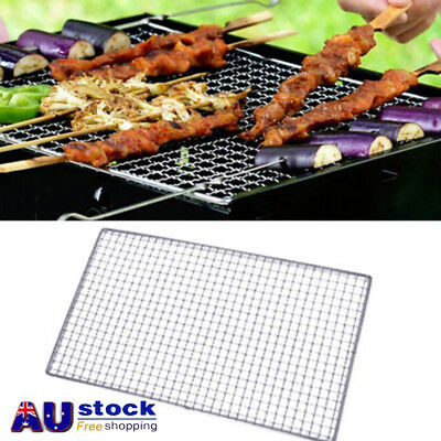 AU Outdoor Picnic BBQ Grill Stainless Steel Net Wire Mesh Camping Barbecue 3Size