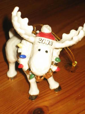 LENOX Holiday MOOSECHIEF 2003 Annual Moose ORNAMENT COA New Nice!