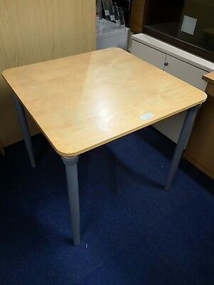 (Item 1229) Used Square Maple Table with Silver Metal Legs