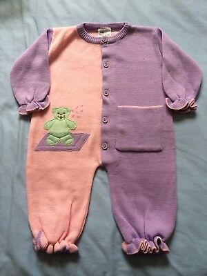 Vintage Baby Girls Size 0 One piece Jumpsuit Growsuit Romper Pink Knitted