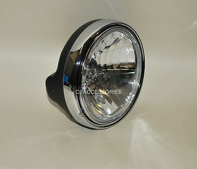 "126 Black 7"" Motorcycle Headlight Chrome Rim Streetfighter Cafe Racer E-Marked"