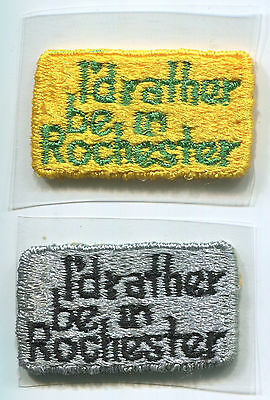 P116b New York 1980, I'd rather be in Rochester, 2 rare iron-on small patches