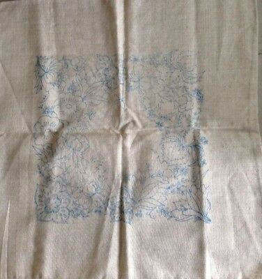 LINEN TRANSFER PRINTED CUSHION COVER to EMBROIDER - FLORAL.