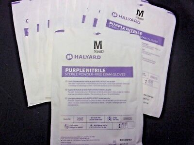 10 Pairs Halyard Purple Nitrile Sterile Powder Free Exam Gloves 55092  Exp 10/22