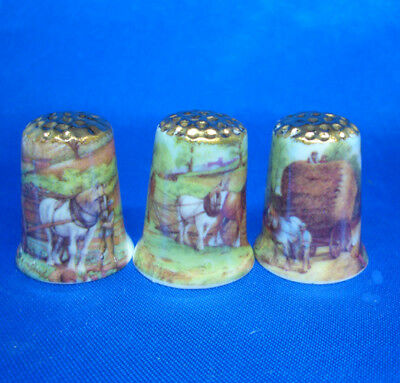 Fine Porcelain China Thimbles - Set Of Three  Shire Horses Gold Top
