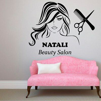 Beauty Hair Salon Wall Decal Personalized Name Vinyl Custom Wall Stickers