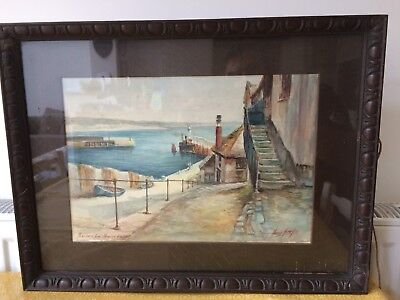 Watercolour Painting Penzance From Newlyn Harbour signed Harold Harvey '14