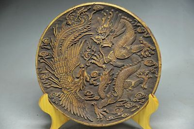 Unique Chinese Rock Stone Hand Carved Dragon Phoenix Plate Zrf