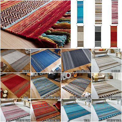 Multi Coloured Small Large Runner Flat Weave Kelim Hand Made Cotton Mix Flat Rug