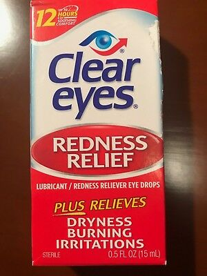 3 PK-CLEAR EYES Drops Redness Red Eye Relief 0.5 fl oz (15 ml) EXP. 07/2019+