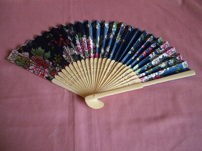 blue design chinese bamboo fan