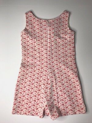 Vintage Handmade Womens One-piece Romper Tennis Rackets White Red Snap Closure