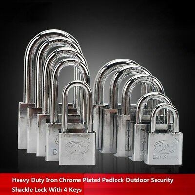 Heavy Duty Iron Chrome Plated Padlock Outdoor Security Shackle Lock With 4 Keys
