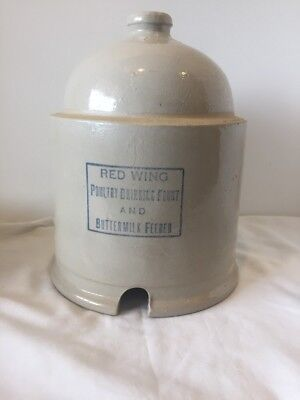 "Red Wing Poultry fount chicken feeder waterer. Dark print. 10"" tall x 8"" No Base"