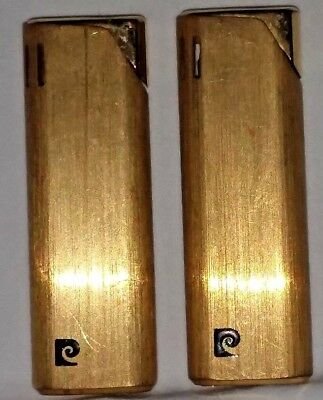 """Lot of 2 VINTAGE Pierre Cardin Made in Japan GOLD Tone Lighters 2.75"""" H"""
