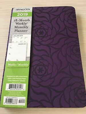 2018-2019 AVALON 18-Month Weekly/Monthly Calendar Planner Appointment Book PURPL