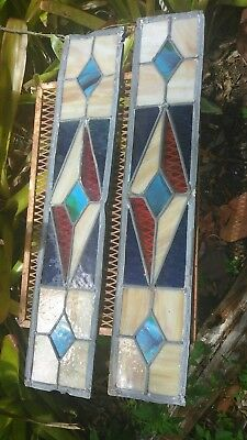"""2 Leaded English stained glass window panels 5"""" 26"""""""