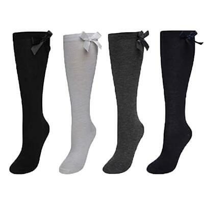 Womens Ladies & Girls Kids Knee High School Socks With Matching Silky Ribbon Bow