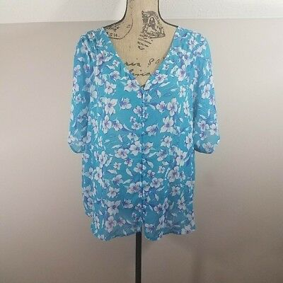 Torrid Floral Chiffon Button Front Top Size 1 14 16 1X