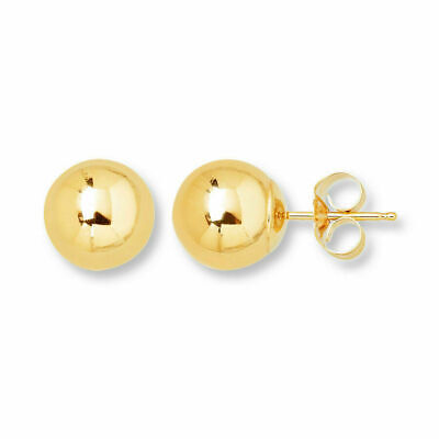 14K Solid Yellow Gold Ball Earrings 14kt Genuine Gold 4mm - New