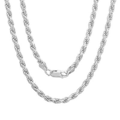 Solid Sterling Silver Italian Rope Chain Mens 925 Necklace 3mm 16''-30'' NEW