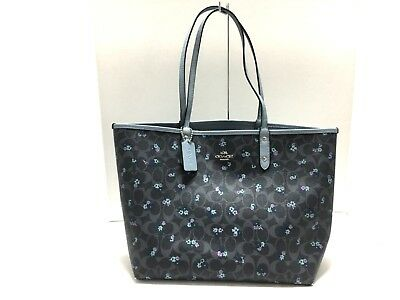 Auth COACH Signature Ranch Floral Leather Reversible Tote F59460