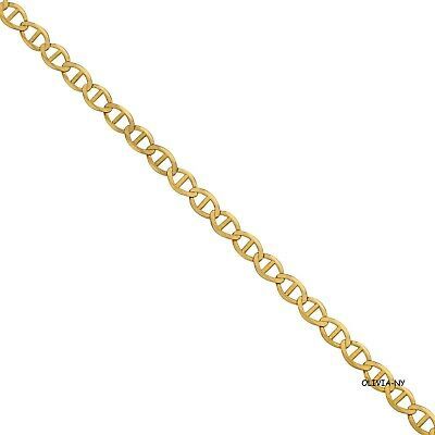 """14K Solid Yellow Gold Mariner Necklace Chain 1 mm 16""""-24"""" -Anchor Link Women Men"""