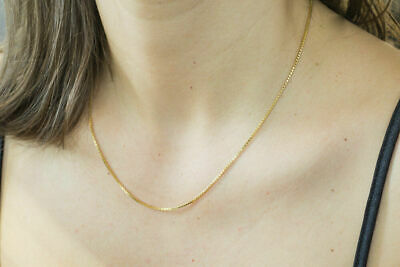 Real 14k Yellow Gold Necklace Gold 0.5mm Box 14kt Chain 16 18 20 22 24 30 Gold