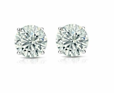 14K Solid White Gold Round Bright Clear Cz Prong Stud Earrings 3-8mm -Genuine