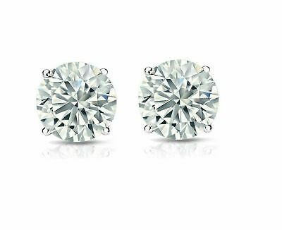 14K Solid White Gold Round Brilliant Created Diamond Stud Earrings 3-8mm