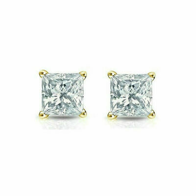 14K Solid Yellow Gold Square Created Diamond Princess Cut Earrings 3-8MM