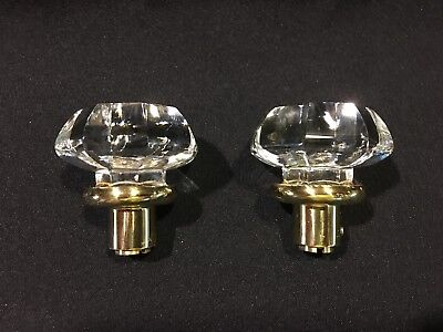 (2) New Glass / Crystal Octagon Door Knobs /Dummy with Brass Stem
