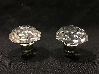 (2) New Glass / Crystal Octagon Door Knobs /Dummy with Pewter Finish Stem